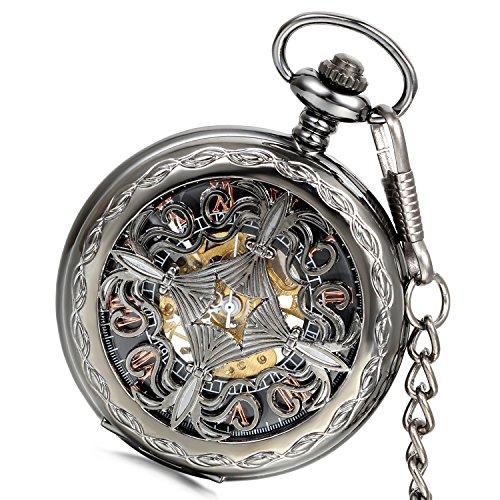 LANCARDO Taschenuhr Vintage Herren Damen Uhr Analog mit Metall Kette Weihnachten Geschenk LCD009P101