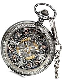 Lancardo Orologio da tasca per uomo in movimento meccanico con quadrante numeri romani, caso in oro, Knot Hollow cinese Regalo Perfetto