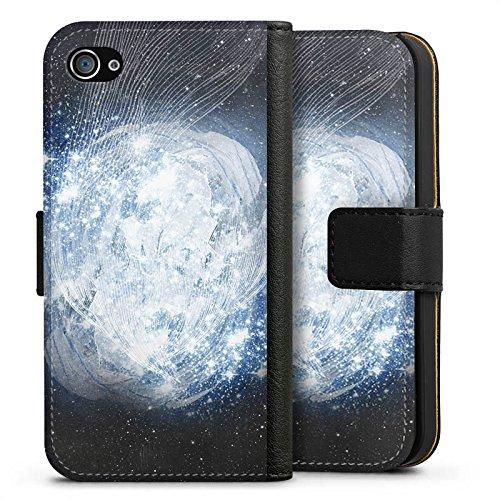 Apple iPhone X Silikon Hülle Case Schutzhülle Universum Galaxie Dimension Sideflip Tasche schwarz