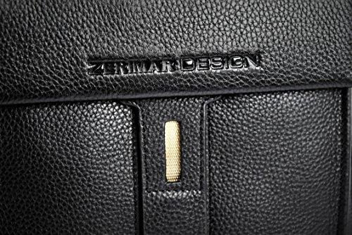 Zerimar Bolso Bandolera de Cuero para Hombre Bolso de Hombro con gran capacidad Piel suave Color negro Medidas: 27x23x8 cms.