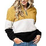 Moda Felpe in Pile Donna Colore Impiombato Tops Manica Lunga Maglioni Autunno Inverno Sweatshirt Felpe Taglie Forti