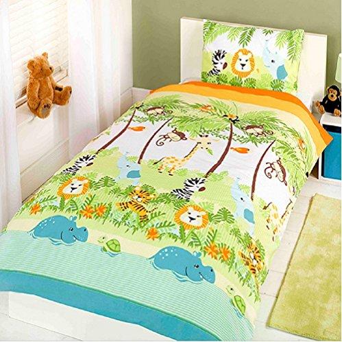 Per bambini rotativo singolo trapunta piumone e federa copertura set da letto (vari eventi da scegliere tra) - giungla boogie, singolo uk