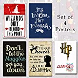 #10: Harry Potter 4 Posters Without Frame (Leviosa + Wizard Only + Muggles + It's Your Choice) Printed on Heavyweight 300gsm Matte Paper (12x18 inches)