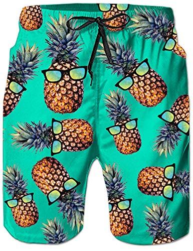 Rave on Friday Ananas Badeshorts Herren 3D Druck Grün Badehose Sommer Beachshorts Schnelltrocknend Schwimmhose Hawaii Strand Surf Shorts S