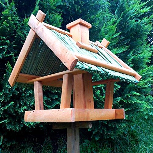 Vogelhaus Schilfdach Reetdach Massivholz Schreinerarbeit Futterhaus Vogelhäuschen –Wetterschutz– K2 - 3