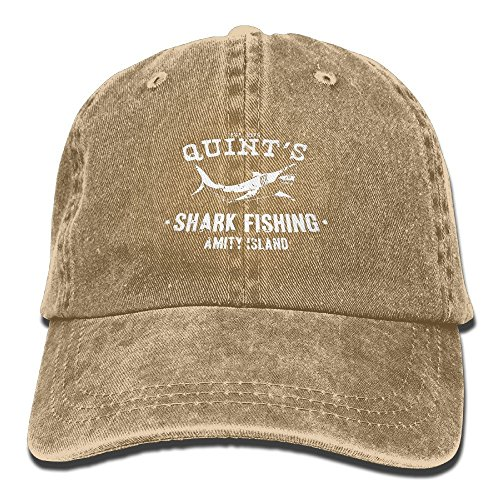 KCOUU Quints Shark Fishing Jaws Washed Retro Adjustable Cowboy Hat Leisure Hats for Man and Woman