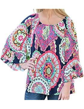 Honghu Donna Print Casuale Manica Lunga Loose Blouse Vestito Corto Camicette