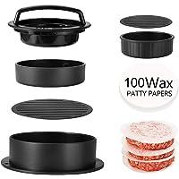 YFOX   Macchina per hamburger  3 in 1 antiaderente  con 100 fogli di cera   strumento per grigliare hamburger  facile da usare  pulito e facile da raccogliere  nero