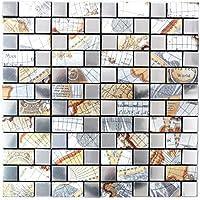 10 Mosaikmatten Mosaik Fliese selbstklebend Transluzent Stein beige braun Rechteck Glasmosaik Crystal Stein beige braun f/ür WAND K/ÜCHE FLIESENSPIEGEL THEKENVERKLEIDUNG Mosaikmatte Mosaikplatte