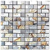Mosaik Fliese selbstklebend Aluminium silber Kombination metall Weltkarte Silber für BODEN WAND BAD WC DUSCHE KÜCHE FLIESENSPIEGEL THEKENVERKLEIDUNG BADEWANNENVERKLEIDUNG Mosaikmatte Mosaikplatte