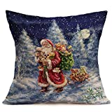 Fundas Cojines de Navidad, Patrón de Papá Noel Funda de Cojines 45x45 Navidad Decoracion para Hogar Casa Sofa Jardin Cama (06)