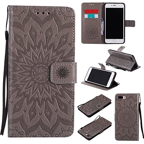JIALUN-Telefon Fall Für Apple IPhone 7 Plus Fall, mit Lanyard, Kartensteckplatz, Halterung, Magnetische Wölbung Sun Flower Flat Open Phone Shell ( Color : Pink ) Gray