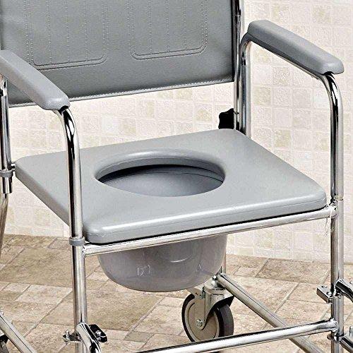 NRS Nachtstuhl mit Rollen, gepolsterter Sitz/ Rückenlehne, höhenverstellbar