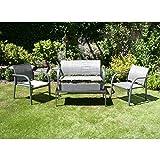 Charles Bentley Garden Modern Mesh Lounge Set Outdoor Patio Deck Furniture Set - Grey