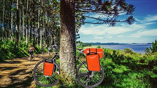 CROSSO® DRY SMALL 30 / DRY BIG 60 Gepäckträgertaschen | 30/60 Liter | Fahrradtaschen | Tarmaulin | 2 Taschen | Reflexionsstreifen | Wasserdicht, Crosso:26. Orange / 30L (Roll Up Shutters)