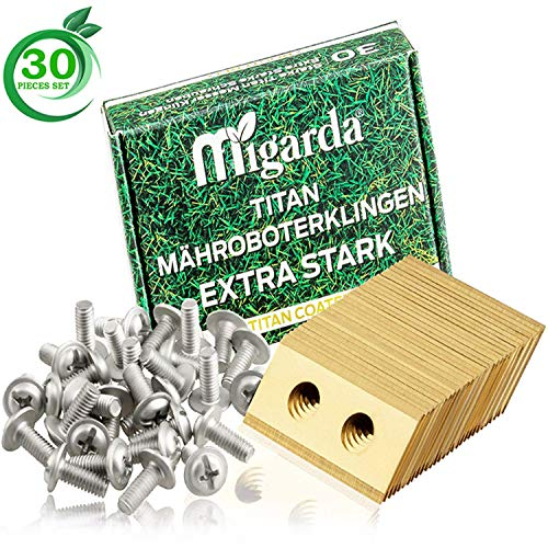 Migarda - Worx Landroid Messer - 30x - Hochwertige Titan-Klingen & verbesserte Schrauben Set für max. Langlebigkeit - Mäh-Roboter Ersatzmesser Ersatzteile Zubehör   inkl. eBook