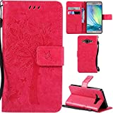 Ooboom® Samsung Galaxy A3(2014 Version) Coque Motif Arbre Chat PU Cuir Flip Housse Étui Cover Case Wallet Portefeuille Support avec Porte-cartes pour Samsung Galaxy A3(2014 Version) - Rose