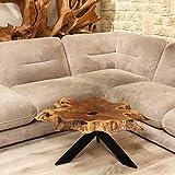 Möbel Bressmer Couchtisch Baumscheibe Brady - Höhe 45 cm | Unikat Wohnzimmer Tisch Holzscheibe massiv | Der Eye-Catcher als Unikat der Natur in Handarbeit hergestellt