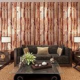 HANMERO Papier Peint Vintage Motif de Bois Naturel Vinyle pour Chambre Salon TV Fond-0.53m*10m