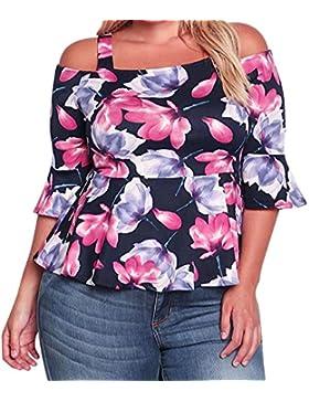SALLYDREAM Camiseta Blusa Casual Mujer Talla Grande Señoras Impresión Suelto Tops (XL, Negro)