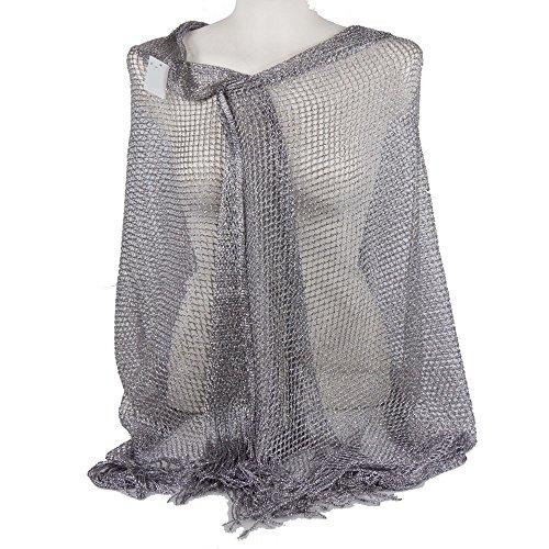 Emila stola cerimonia coprispalle elegante con frange a rete foulard scialle grande argento l190xh70