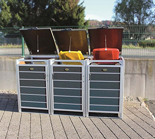Prewood WPC Mülltonnenbox, Mülltonnenverkleidung für 3x 120l Mülltonne grau // 70x204x113 cm (LxBxH) // Gerätebox, Gartenbox & Mülltonneneinhausung - 2