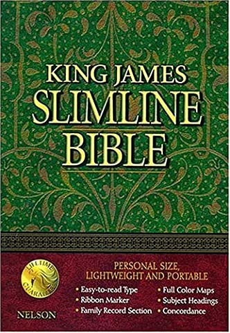 King James Slimline Bible: Burgendy Genuine Leather
