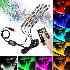 Winzwon LED Innenbeleuchtung Auto, Auto LED Fußraumbeleuchtung, Auto LED Innenraumbeleuchtung RGB Fußraum Ambientebeleuchtung Auto Innenraum Strip Atmosphäre Licht mit USB-Port und Fernbedienung