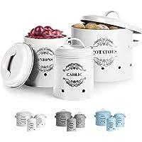 Virklyee® Paniers Ail Pot à Oignon en Métal Set of 3-Pot de pomme de terre, pot d'oignon, pot d'ail, Pots et bocaux de…