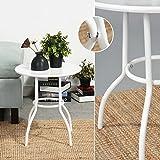Ihouse Couchtisch mit rundem Ende, Metall, für Schlafzimmer, Wohnzimmer (weiß)