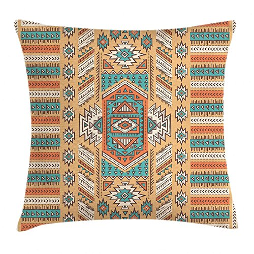 Tribal Decor Throw Pillow Cushion Cover, Ethnic Aztec Secret Tribe Pattern in Native American Bohemian Style, Decorative Square Accent Pillow Case, 18 X 18 Inches, Apricot Orange and Teal -