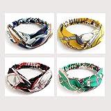 Lot de 4 bandeaux bohème - Accessoires pour cheveux - Style vintage des années 1950 - Pour femme - Turban à fleurs élastique