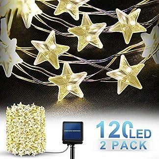 Guirnaldas Luces Exterior Solar, Luces de Cadena Solar [Forma de estrella 120LED/2Pack], SEZAC 39Ft Iluminación decorativa de alambre de cobre para jardín, fiesta (blanco cálido y 8 modos)