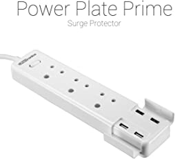 Portronics POR-670(White) Power Plate Prime Three 5A electrical universal sockets and 4 USB ports & Surge Protector