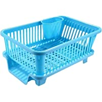 Raawan 3 in 1 Large Durable Plastic Kitchen Sink Dish Rack Drainer Drying Rack Washing Basket with Tray for Kitchen…