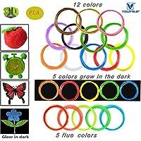 Victorstar @ 3D Penna Filamento Ricarica 1,75mm PLA 22 Colori Brillanti - 11 Generale + 1 Legno + 5 Fluorescente + 5 Bagliore nei Colori Scuri (10m per Rullo 220m Totale)