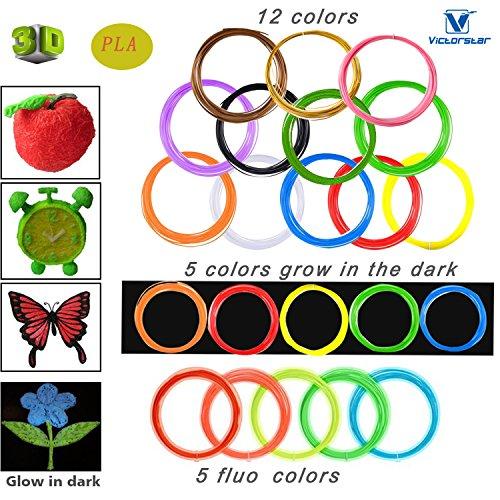 Victostar @ PLA 3D Pluma Recargas de Filamento 22 Colores - 220 Metros (722ft) / 12 Colores + 5 Colores Fluorescentes + 5 Colores Brillan en la Oscuridad / Diámetro 1,75 mm - 10 Metros Cada Rollo / Material de Resina Vegetal y Sin Olor Mejor Salud