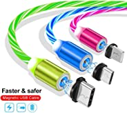LED Glowing and Magnetic 3 in one Mobile USB Cable for Android Apple and Type C (Silver)