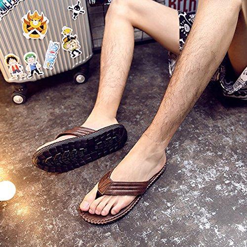 Vertvie Mens Summer Shoes Sandali Da Spiaggia Indoor Outdoor Slipper Perizoma Muli Infradito Caffè