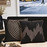Valery Madelyn Luxury Gold Black Christmas Cushion Covers Decorative Canvas and Velvet Pillow Covers with Embroidery and Nailhead Studs Design (Set of 2, 45x45cm)