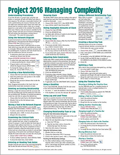 Microsoft Project 2016 Quick Reference Guide Managing Complexity - Windows Version (Cheat Sheet of Instructions, Tips & Shortcuts - Laminated Card) par Beezix Inc