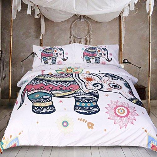 sleepwish 3Stück Rainbow Mandala Elefant Bettbezug Set Bohemian Elefant pastel Floral Tröster Set Hippie Gypsy Betten Boho Tagesdecke, Polyester-Mischgewebe, King Size -