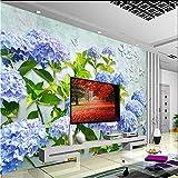 Papier peint amovible Fleur d'hortensia bleu Papier peint sur mesure murale TV 3D Salon Toile de fond Papier peint 350x245cm