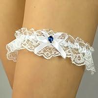 Giarrettiera di pizzo matrimonio sposa biancheria intima regali de nozze addio al nubilato blu bianco conchiglia