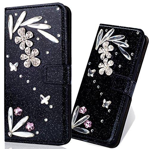 Bling Glitzer Slim Modisch Ledertasche Wallet Hülle für Samsung A10e,Glitter Diamond Love Hearts Musterg Stand Funktion Soft Bookstyle Karteneinschub Magnetverschluss Flip Schutzhülle - Funktion Getränke