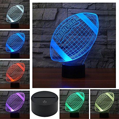 3D American Rugby Football Illusions Lampen Tolle 7 Farbwechsel Acryl berühren Tabelle Schreibtisch-Nachtlicht mit USB-Kabel für Kinder Lumière Touch Control 7 couleurs Change USB Lampes