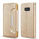 UEEBAI Hülle für Samsung Galaxy S6 Edge,Luxus Hochwertig Glitzer Schutzhülle mit [Große Magnetschnalle] [Kartensteckplatz] Standfunktion Stoßfest PU Leder Flip Brieftasche Case Handyhülle - Gold