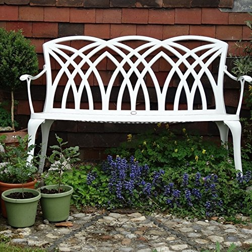 Lazy Susan – SANDRA Quadratischer Kaffeetisch mit 1 APRIL Gartenbank – Gartenmöbel Set aus Metall, Weiß - 5