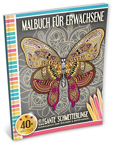 Malbuch für Erwachsene: Elegante Schmetterlinge (Kleestern®, A4 Format, 40+ Motive) (A4 Malbuch für Erwachsene, Band 4)