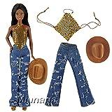 Miunana Sets Kleidung Kleid Jeans mit Hut Paillette Sommer Cowboy Fashion für Barbie Puppen